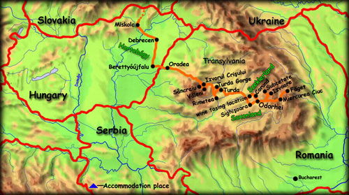 'Wonders of Szeklerland' map - click to zoom
