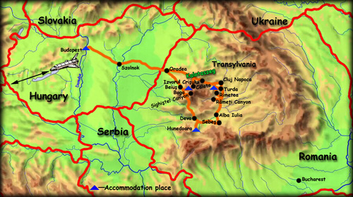 'Around the Western Carpathians' map - click to zoom