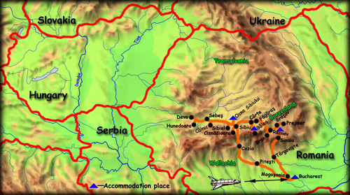 'Heritage of southern Transylvania' map - click to zoom